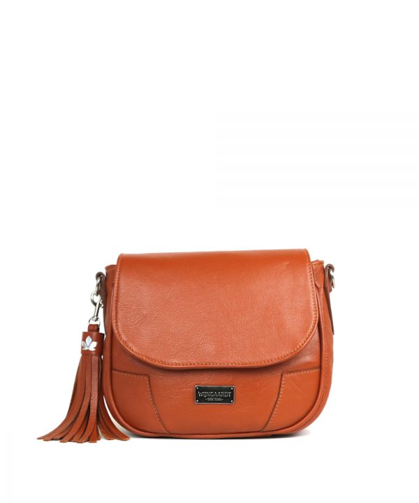 wijngaardt tan genuine leather saddlebag handbag adjustable leather strap