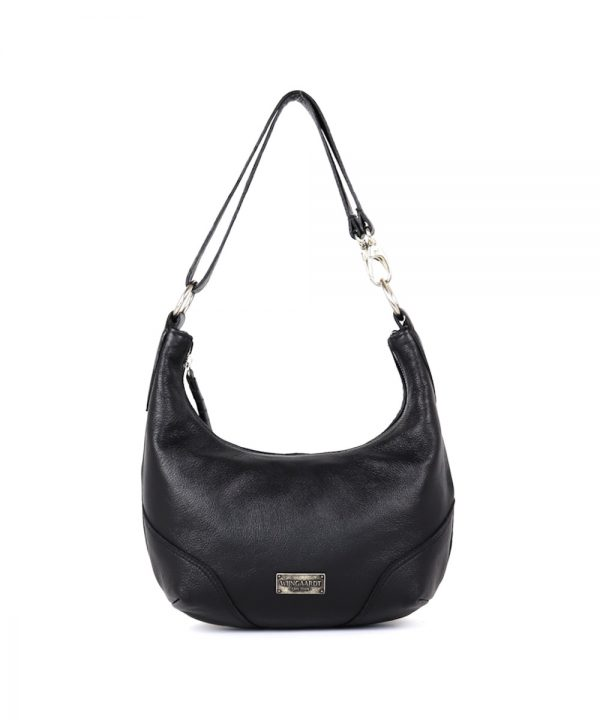 wijngaardt black genuine leather crescent shaped hobo handbag adjustable leather strap crossbody