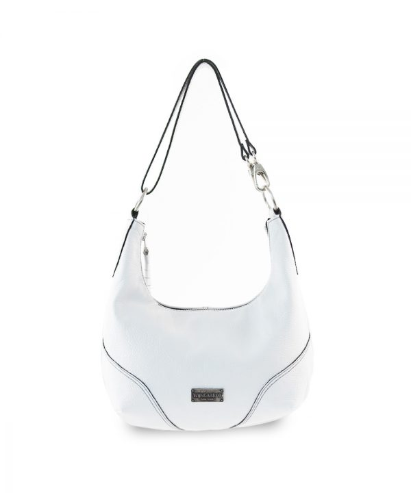 wijngaardt white genuine leather crescent shaped hobo handbag adjustable leather strap